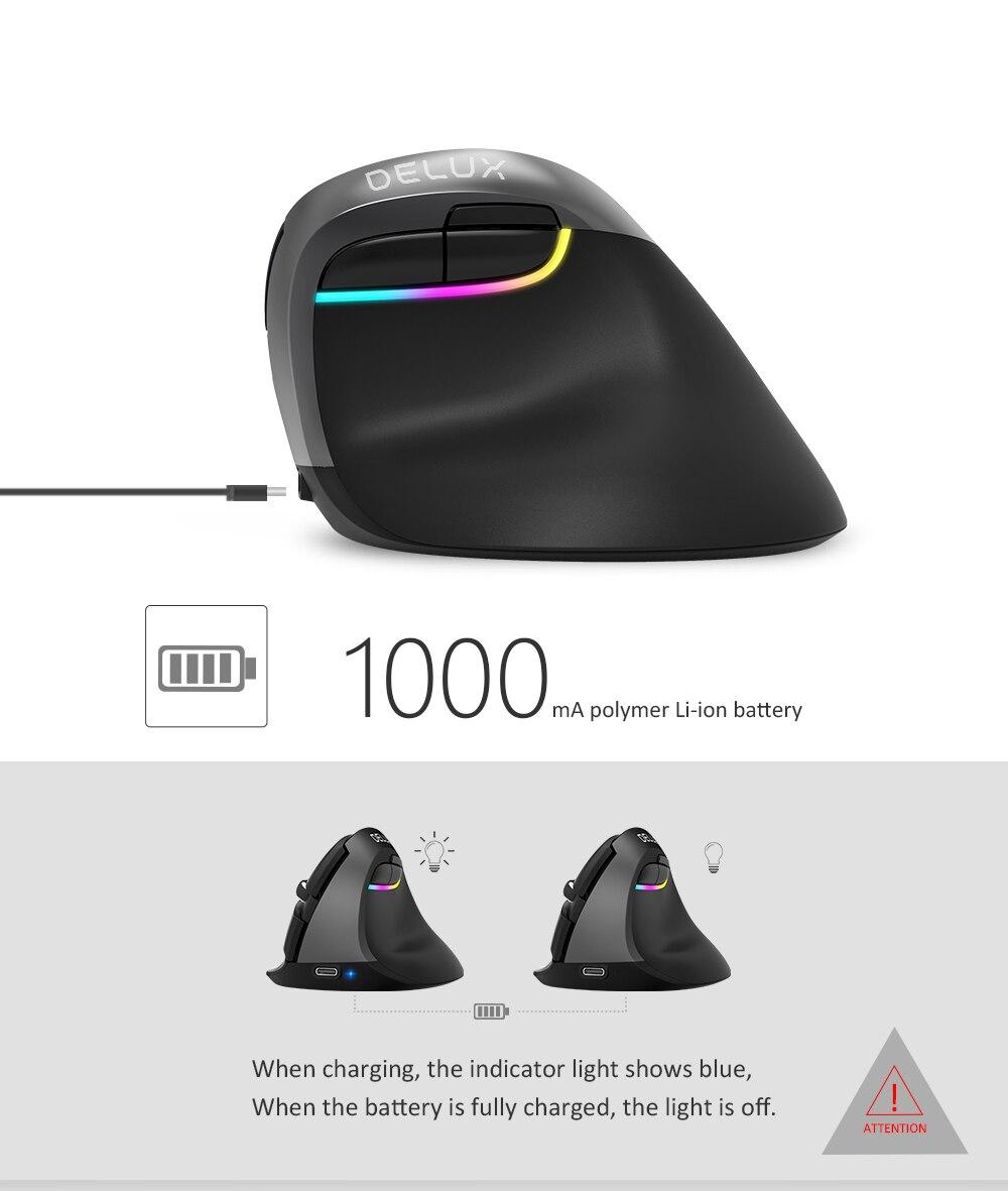 Delux M618 Мини Bluetooth 4,0+ 2,4 ГГц Двухрежимная беспроводная мышь 2400 dpi эргономичная перезаряжаемая Бесшумная Вертикальная мышь для ПК