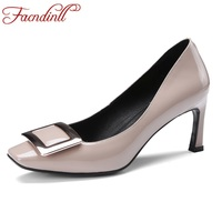 FACNDINLL Woman Genuine Leather Pumps Black Pink Sexy High Heels Square Toe Shoes Spring Autumn Fashion