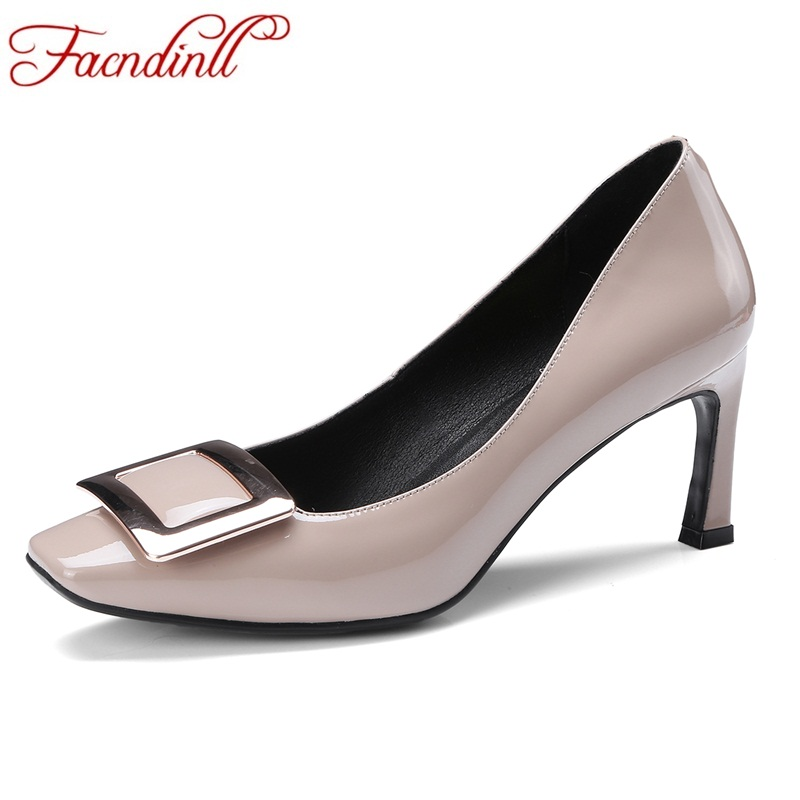 FACNDINLL woman genuine leather pumps black pink sexy high heels square toe shoes spring autumn fashion dress office shoes pumps 3 inch autumn horsehair platform square toe creepers high heels yellow ladies green wedge shoes genuine leather wine red pumps