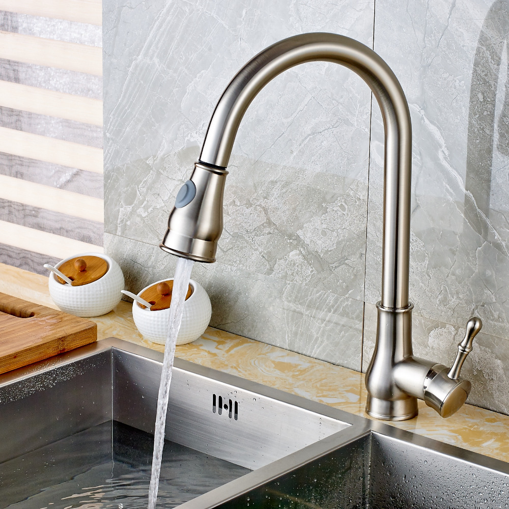 Deck Mount Kitchen Faucet Pull Out Brushed Nickel Vessel Sink Swivel Mixer Tap acme jungle white