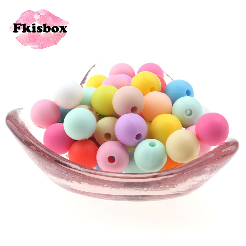 Fkisbox 50pc 12mm Round Silicone Bead Bpa Free Food Grade Baby Teether Necklace Making Chewable Infant Teething Jewelry Pendant