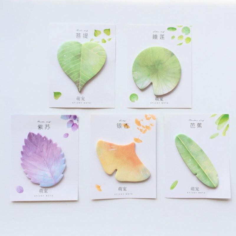 1pc 30 pagesnatural planta folhas em forma de série almofadas de memorando planta verde marcador mensagem notas pegajosas material de escritório da escola papelaria