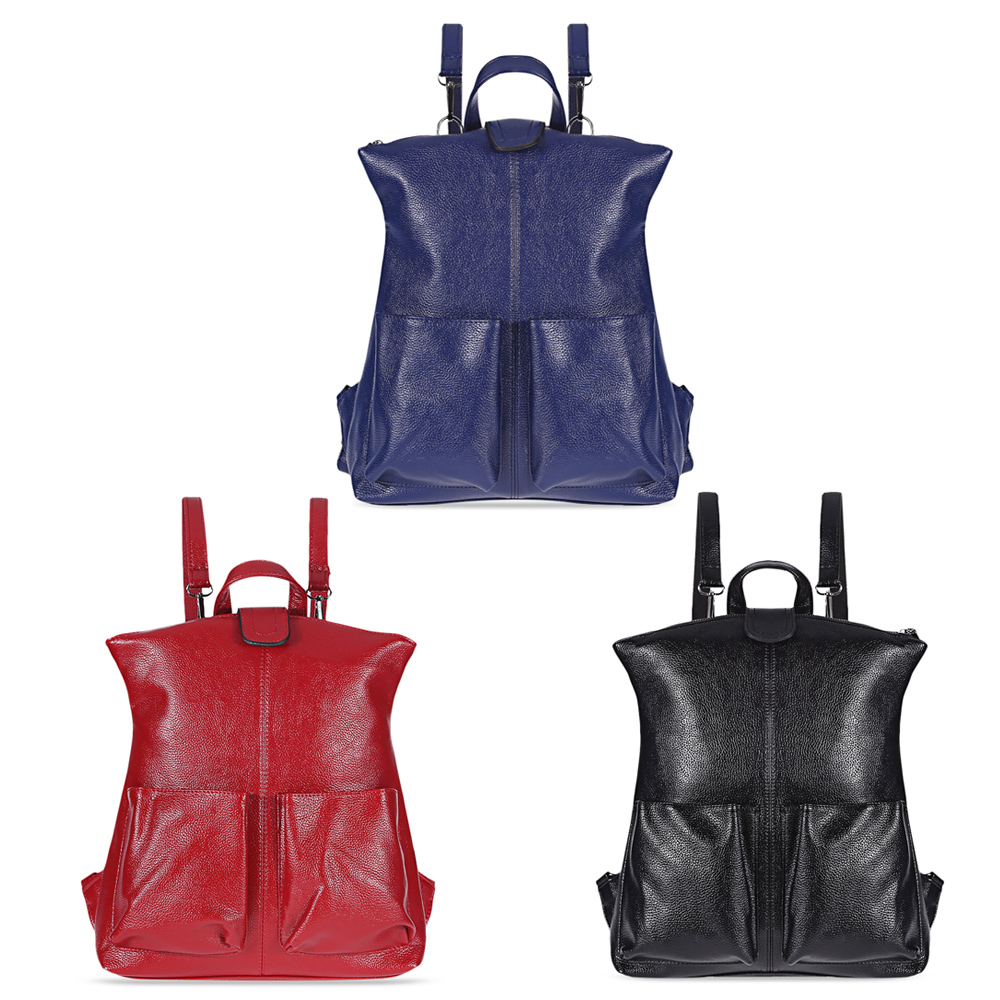 2018 Fashion Women Leather Slot Pockets Leisure Backpack Shoulder Crossbody School Female Bags for Women Candy Color