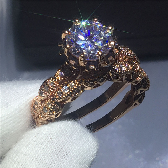 Vintage Women Round cut 3ct Diamonique Cz Rings Rose gold Filled