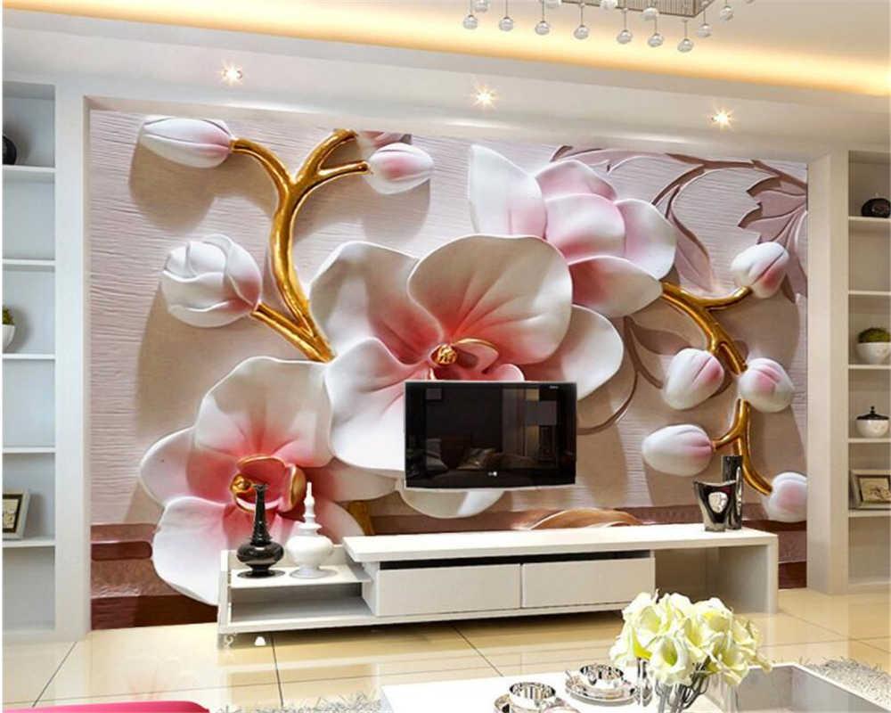 Beibehang Foto Wallpaper 3D Phalaenopsis Relief Dinding Modern Fashion Floral Lukisan Dekoratif Papel De Parede 3D Wallpaper