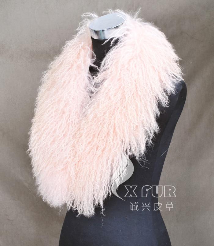 CX-A-52P из натуральной монгольской Овцы меховой воротник из натурального меха ягненка шарф шарфы накидка дизайн для леди - Цвет: PINK