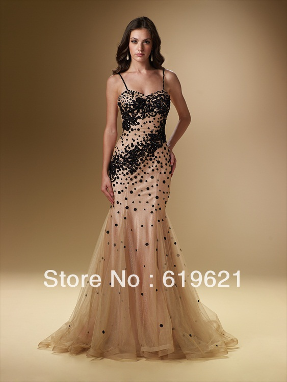Designer Dress Spaghetti Strap Sweetheart Mermaid Floor length Beaded Tulle  evening dresses special occasion dress-in Evening Dresses from Weddings    Events ... b1520d1436a5