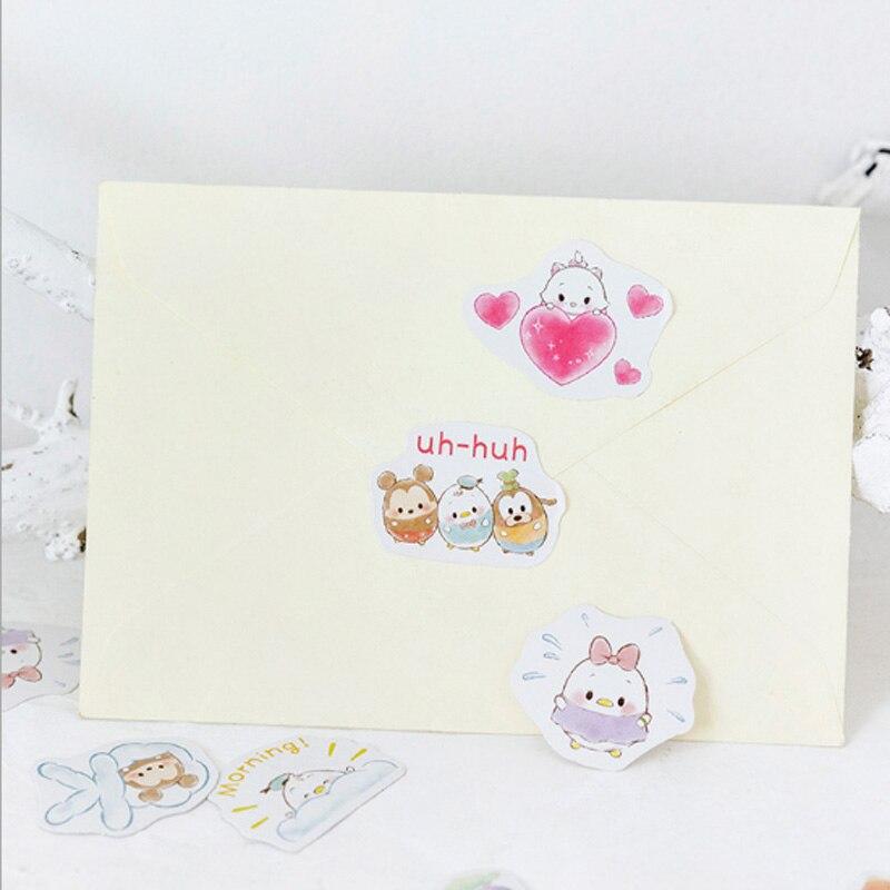 Купить с кэшбэком 45pcs/box Cartoon little cute sticker diy hand gift bag sealing kawaii decoration adhesive tape Diary stationery stickers