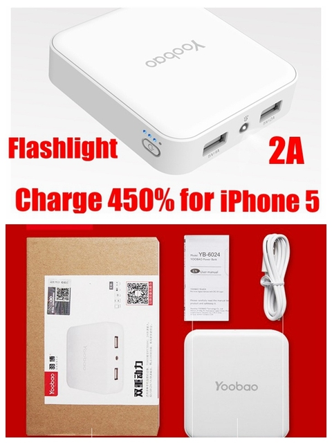 Yoobao banco de potência 10400 mah 10400 mah powerbank 2 portas 5 v cobrar 450% para xiomi 2a para iphone 5 samsung huawei Universal
