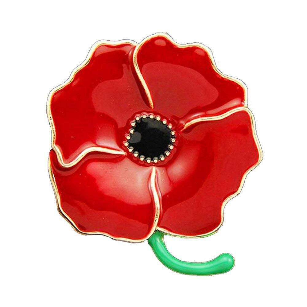 100 pièces broche coquelicot Badges broches émail gravé quatre pétales héros Remembranc rouge fleur Badges Banquet épinglette broche