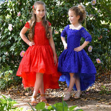 Vintage High Low Dress For Princess Perfect Lace Flower Girl Dress For Wedding Holiday Special Occasion Lace Up Back Custom(China)