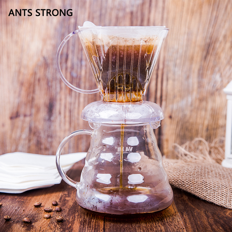 ANTS STRONG creative cone drip coffee filter/clever cup lidded sealed piston filter hole ...