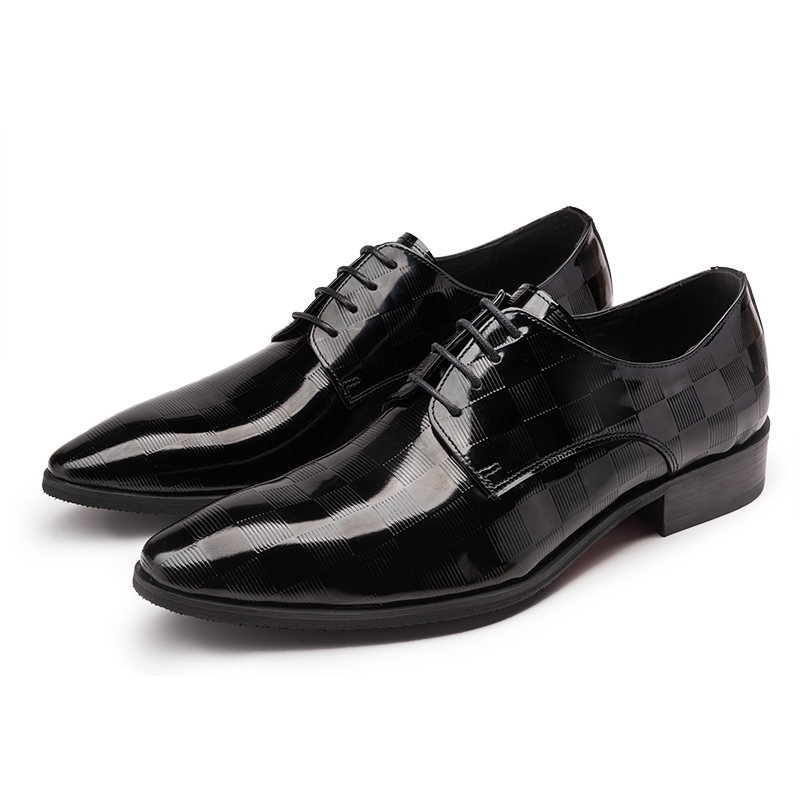 ФОТО 2017 Men's Cow Leather Shoes Patent Leather Dress Office Wedding Party Shoes Basic Style Pointed Toe Lace-up EU38-44 Size