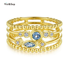 Visisap Multi Layer Hollow Geometric Line Rings for Women Blue Zircon Yellow Gold Color Ring Party Fashion Accessories B2463