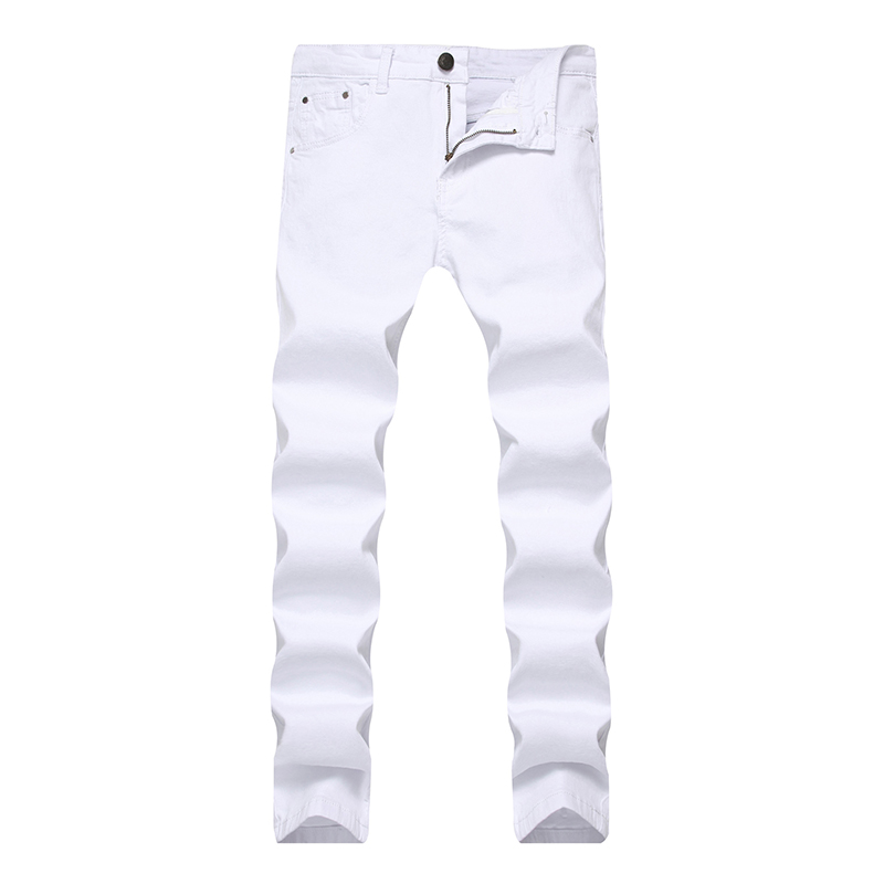 2018 Men Stretch   Jeans   Fashion White Denim Trousers for Male Spring and Autumn Retro Pants Casual Men's   Jeans   Size 28-42