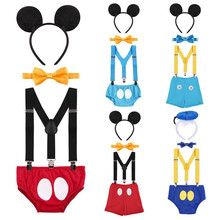 Cake Smash Outfit Baby Birthday Clothes Cute Mickey Mouse Cosplay Costume 1st Birthday Outfit for Boy Baby Photography Props(China)