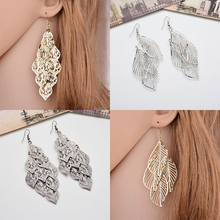 1Pair Bride Long Beautiful High Quality Silver Golden Hollow Out Leaf  Drop Earrings Alloy Tassel Fashion Jewelry