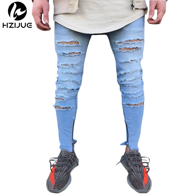 HZIJUE 2017 New Men Trousers Slim Fit Jeans Skinny Runway Straight Elastic Holes Ankle Zipper Denim Pants Destroyed Ripped Jeans dr nana adu pipim boaduo conceptual educational theories
