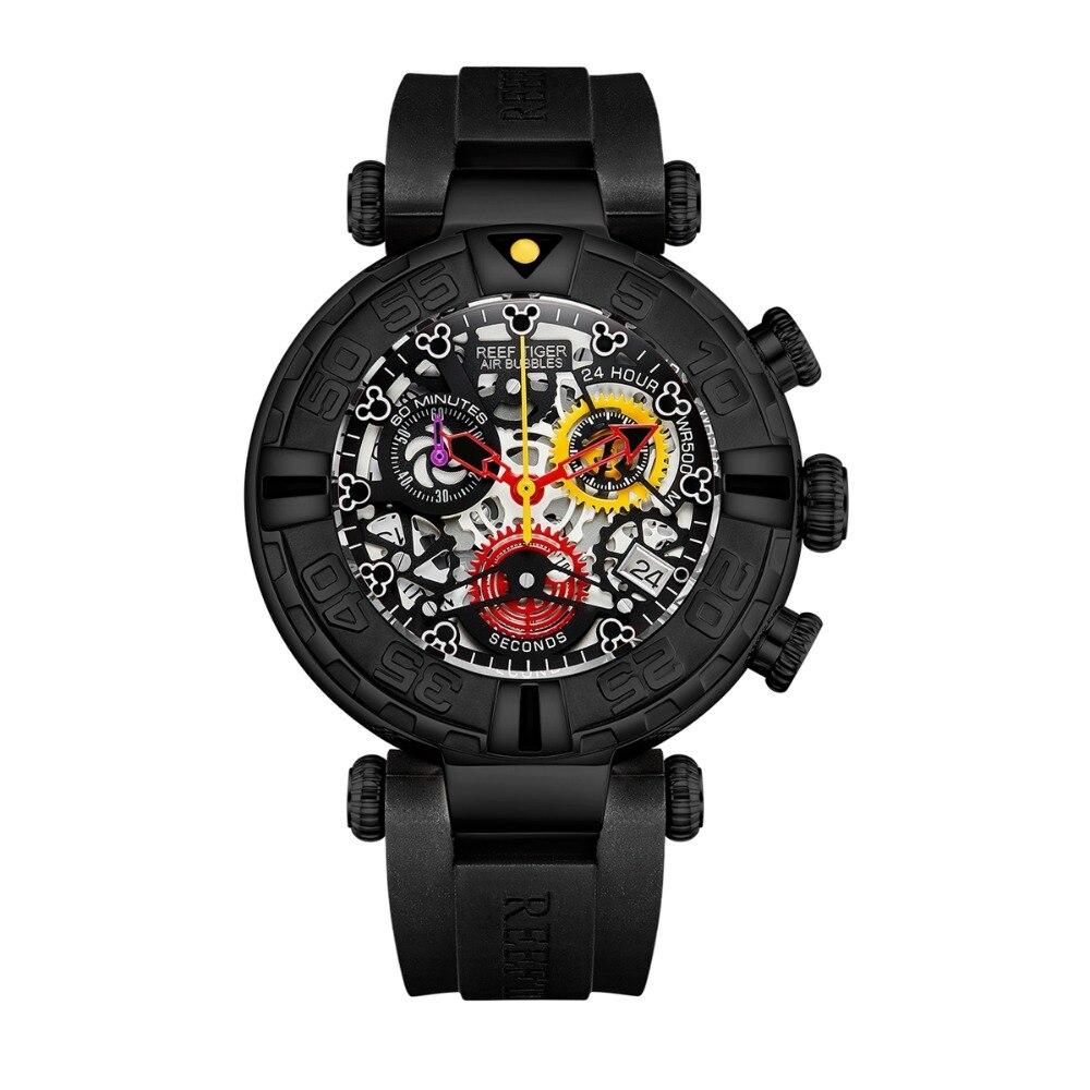 Reef Tiger RGA3059-S Men Sport Chronograp Fashion 10Bar Waterproof Skelet Quartz Wrist Watch With Rubber Watchband - Black цена и фото