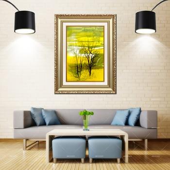 Artcozy Golden Frame Abstract Rape Flower Field Waterproof Canvas Painting