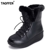 b68f16fd8a8 2016 New Snow Boots Platform Women Winter Shoes Waterproof Ankle Boots Lace  Up Fur Boots White Black Size 35-40