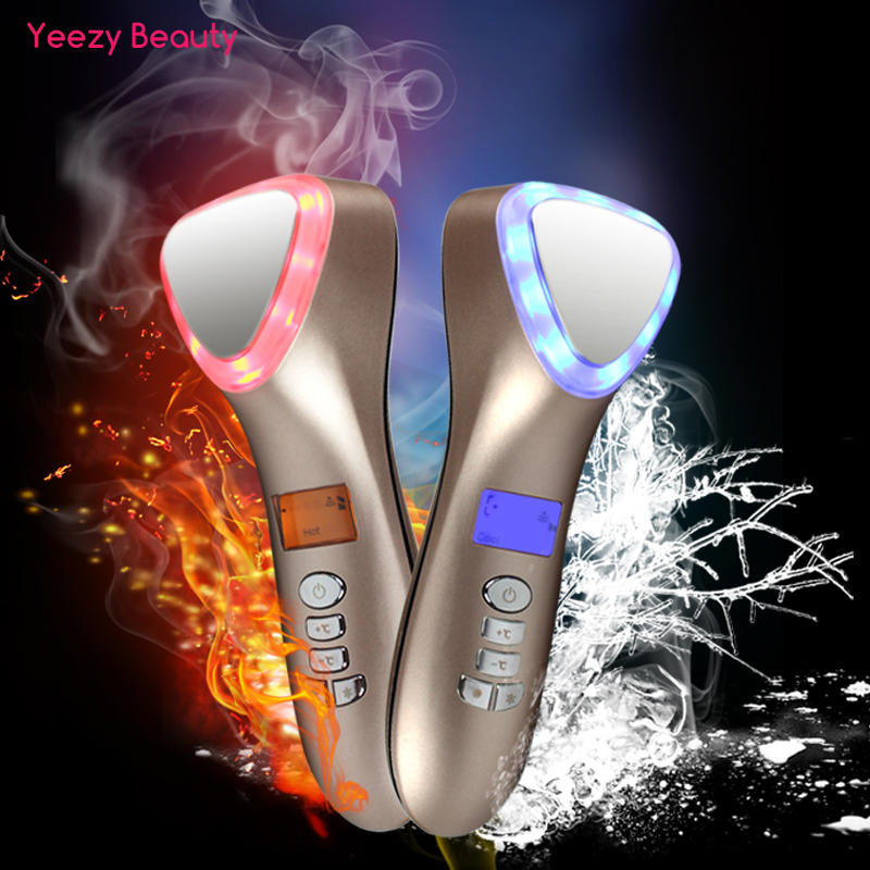Ultrasonic Cryotherapy LED Hot Cold Hammer Facial Lifting Vibration Massager Face Body Spa Import Export Beauty Salon Machine image