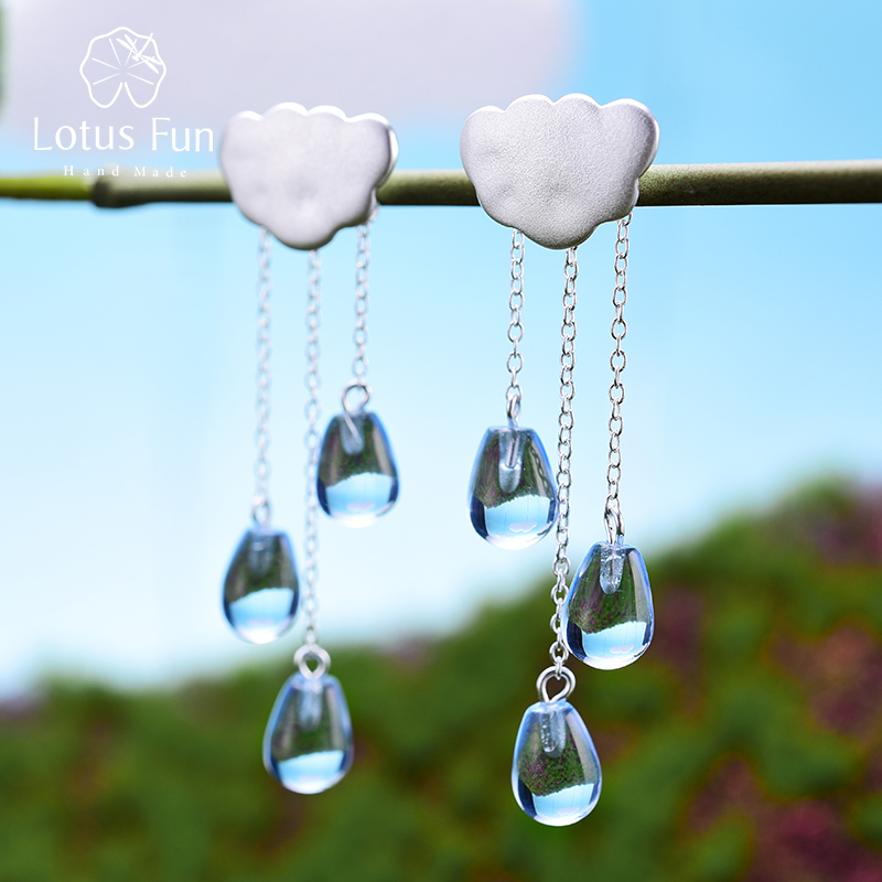 Lotus Fun Real 925 Sterling Silver Natural Crystal Gems Fine Jewelry Ethnic Cloud Long Tassel Drop Earrings for Women Brincos