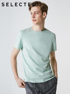 SELECTED Men's Summer 100% Cotton Pure Color Round S