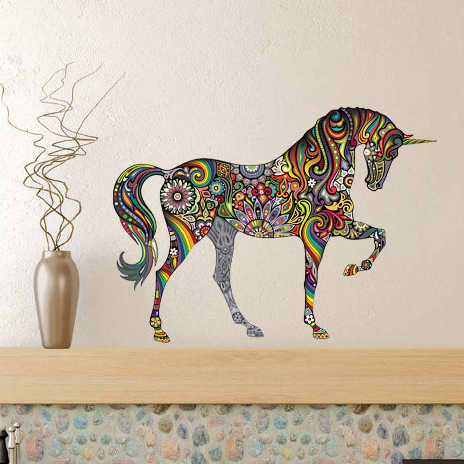 Rainbow unicorn vibrant floral pattern color wall stickers for Awesome cheap wall decals for living room