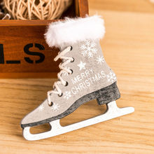 Hanging Pendant Nowflake Pattern Wooden Sleds Boots Christmas Xams Tree Wooden Hang Decorations Hanging Home Christmas 1.oct.30(China)