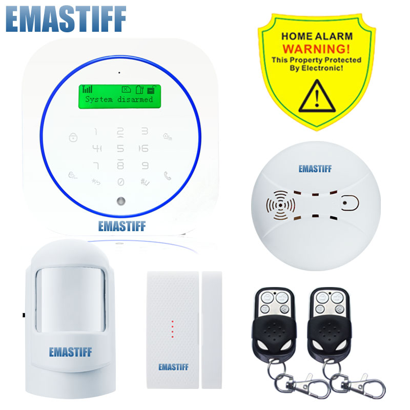 Free shipping.Android App Wireless GSM Home Alarm System SIM Smart Smoke Home Burglar Security Alarm System Kit PIR infrared wireless smoke fire detector for wireless for touch keypad panel wifi gsm home security burglar voice alarm system