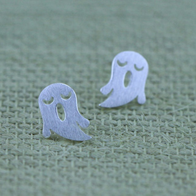 Halloween Jewelry 925 Cute Sterling Silver Ghost Studs