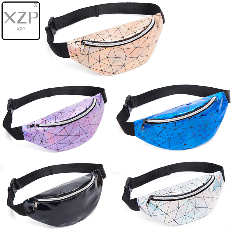 XZP Holographic Waist Bags Women Men Gold Silver Fanny Pack Female Belt Bag Black Geometric Waist Packs Laser Chest Phone Pouch