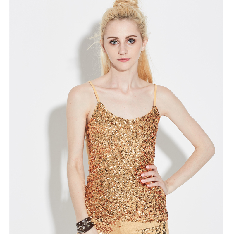 Summer Women Stage Costumes Bling Sequin Spaghetti Strap Vest Tank Cami Top  Sexy Party Clubwear V a0b1f6902946