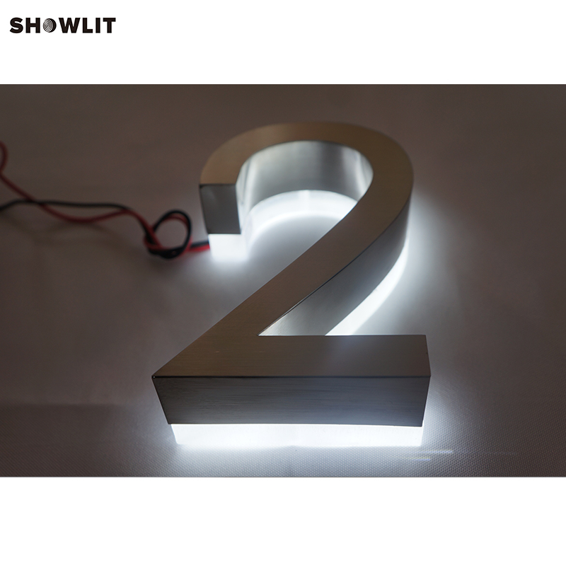 Popular brushed stainless steel led backlit house numbers цена