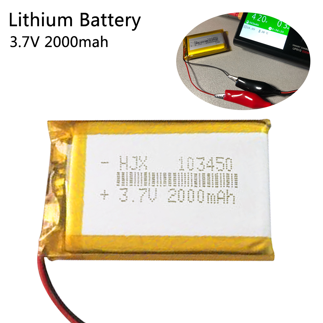 Universal 103450 <font><b>3.7V</b></font> <font><b>2000mAh</b></font> <font><b>Lipo</b></font> Polymer Lithium Rechargeable <font><b>Battery</b></font> for MP3 GPS Navigator DVD recorder Headset e-book Camera image