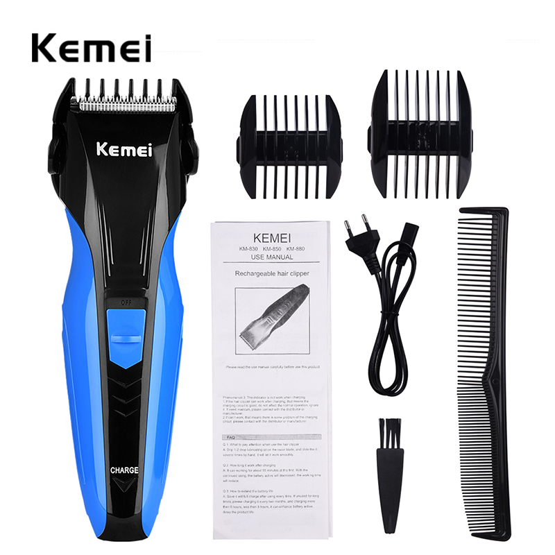 Kemei Rechargeable Hair Clipper Men Electric Professional Hair Trimmers Razor Shaver Beard Shaving Cutting Machine Kit Face Care rechargeable hair clipper with accessories set 220 240v ac