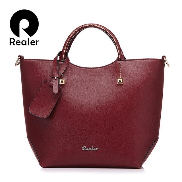 REALER Брендовая женская сумка, большая сумка через плечо, Женская Высококачественная сумка из искусственной кожи, модная сумка с ручкой сверху