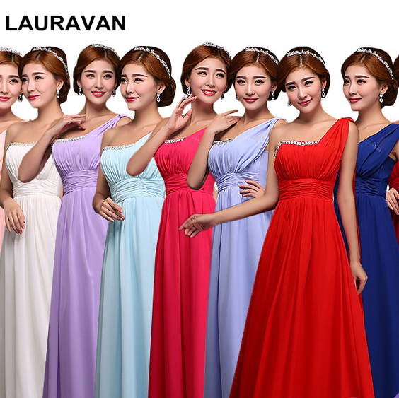 one shoulder royal blue red one shoulder long chiffon   dress   fuchsia   bridesmaids     bridesmaid     dresses   under 100 free shipping