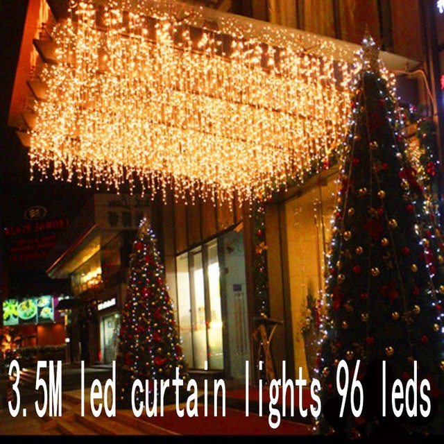 Christmas Garland LED Curtain Icicle String Light 220V 3.5m 100Leds Indoor Drop LED Party Garden Stage Outdoor Decorative Light
