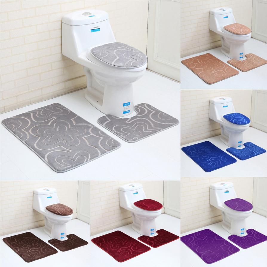 3PC Bathroom Set Rug Contour Mat Toilet Lid Cover Plan Solid Color ...
