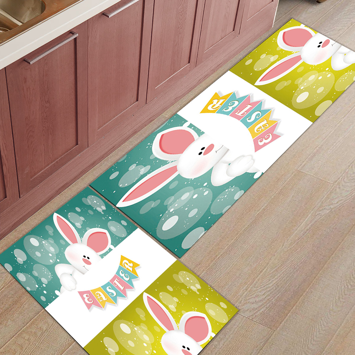 Easter And Eggs On Wooden Bath Rug Non-Slip Floor Outdoor Indoor Front Door Mat