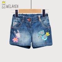 Welaken Children Girl S Denim Shorts Kid S Summer Cartoon Trousers Children Clothing Brand New Bird