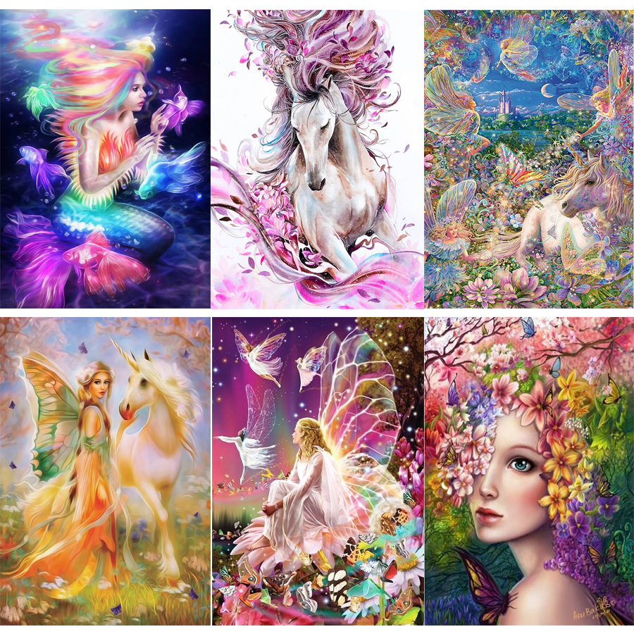 3D diy diamond painting cross stitch kits diamond embroidery mosaic pattern butterfly fantasy character picture home Decor gift