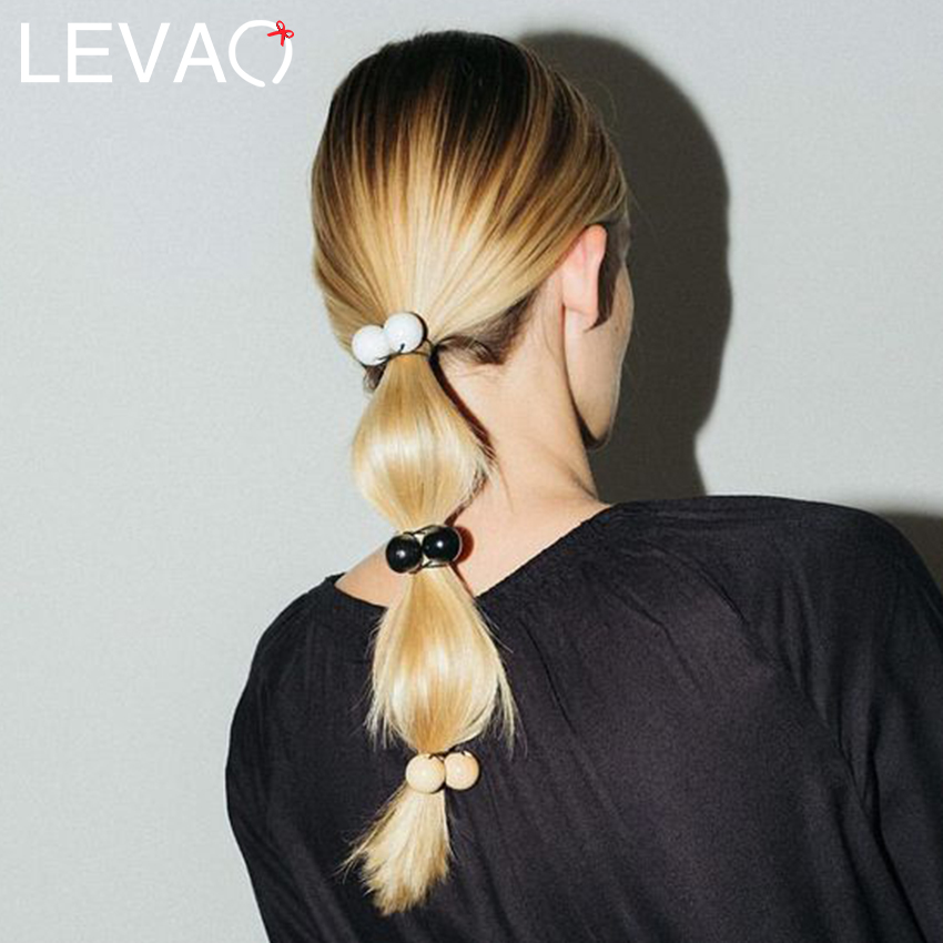 Levao 3PC/Lot Big Pearls Beads Headband For Women Hair Accessories Elastic Hair Bands Hair Rope Ring Gum Ponytail Headwear