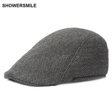 SHOWERSMILE Brand Herringbone Flat Cap Beret For Mens Women British Wool Tweed Duckbill New Fashion Winter Warm Hat And