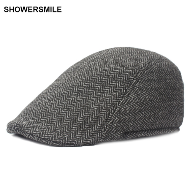 SHOWERSMILE Brand Herringbone Flat Cap Beret For Mens Women British Wool  Tweed Duckbill Cap New Fashion Winter Warm Hat And Cap e23a20d89db
