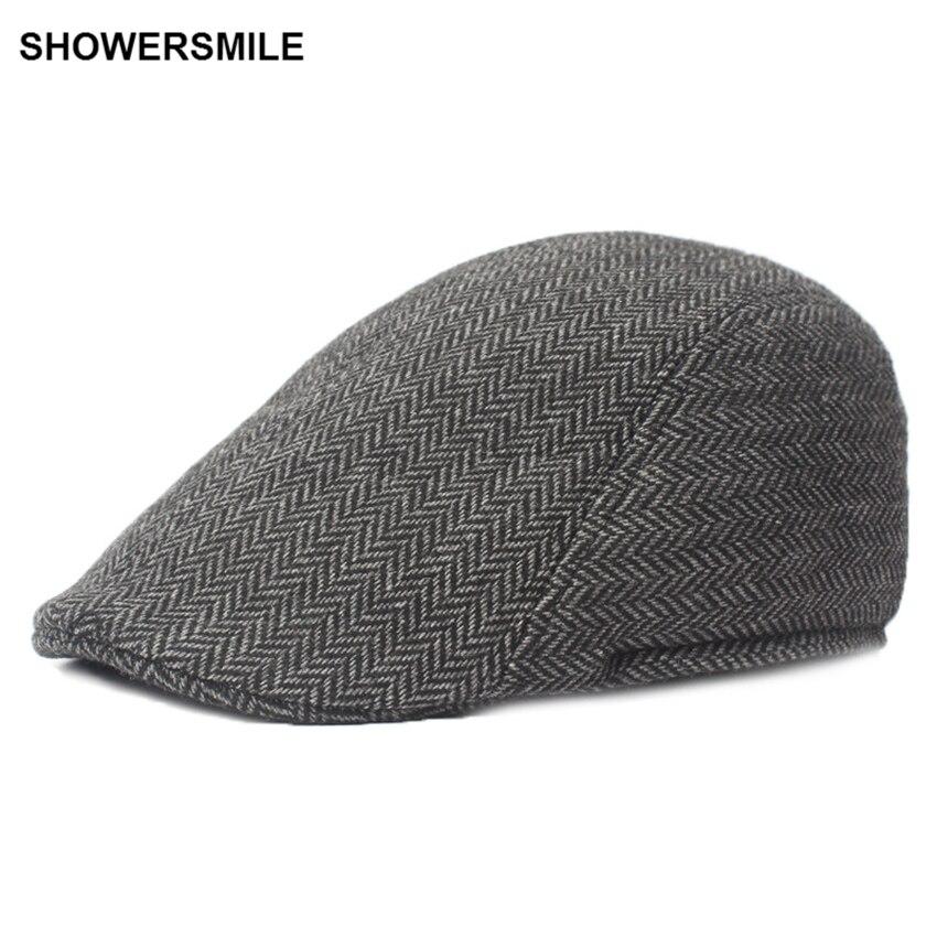 SHOWERSMILE Brand Herringbone Flat Cap Beret For Mens Women British Wool Tweed Duckbill Cap New Fashion Winter Warm Hat And Cap