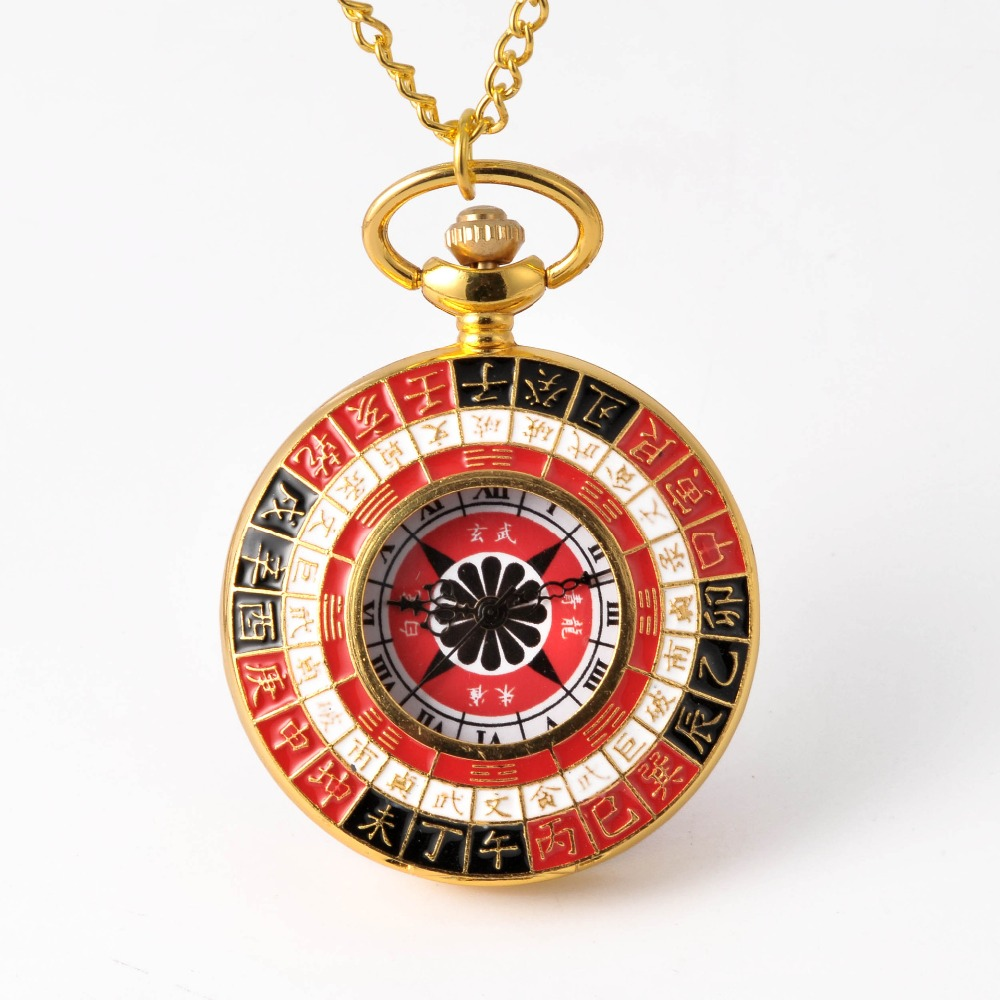 Retro Creative Red Black Gossip Pattern Pocket Watch Pendant With Necklace Men And Women Accessories Gift