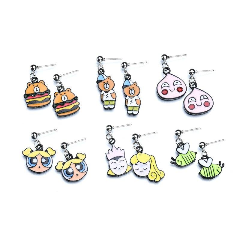 2018 New Fashion Cute Cartoon Enamel earings Jewelry Cute Little Hamburger bear Ear Stud Earrings For Women Girls Kids Gift